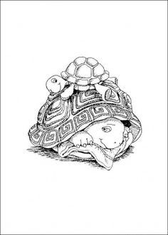 Turtles Coloring pages. Select from 31983 printable Coloring pages of cartoons, animals, nature, Bible and many more. Turtle Coloring Pages, Coloring Pages For Grown Ups, Animal Coloring Pages, Coloring Book Pages, Coloring For Kids, Colorful Drawings, Colorful Pictures, Turtle Love, Digi Stamps