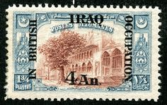 Iraq  1918-20 Scott N34 4a on 1 3/4pi slate & red brown On stamps of Turkey, Surcharged