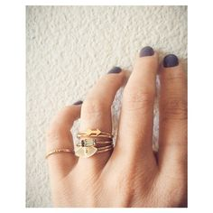 YAY!!!!Our newest colorway in the ultimate BB Best Selling 'Tiny Baguette Ring' is now available online! (14k gold vermeil with blueish-grey Swarovski). (FYI: The other killer rings in that stack are from our Bing Bang x Urban Outfitters collab - which you can shop HERE!)