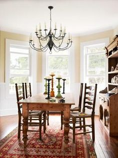 Wooden Farmhouse Dining Room Table And Chairs. This dining room placed in bay window area and furnishing with wooden farmhouse dining room table and chairs. Farmhouse Dining Room Table, Dining Room Wall Decor, Dining Room Design, Room Decor, Dining Rooms, Dining Table, Dining Area, Farmhouse Decor, Farmhouse Windows