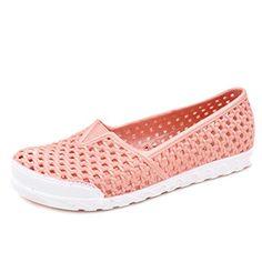 Jiyaru Womens PVC Flat Slip On Sandal Hollow Nurse Dress Sandal Apricot US8 ** Check out this great product.