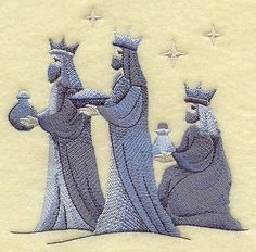 SILENT NIGHT NATIVITY Three Wise Men by EmbroideryExcellence