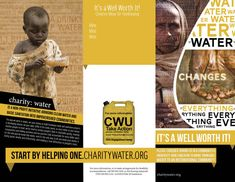 This brochure was created as a concept for a charity fundraiser through the CWU Civic Engagement Center Brochure Examples, Brochure Layout, Brochure Design, Layout Inspiration, Graphic Design Inspiration, Charity Water, Water People, Water Poster, Water Branding