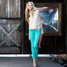 bright skinny jeans.