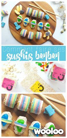Quelle belle idée pour décorer un table festive! Voici comment faire vos sushis bonbon :)