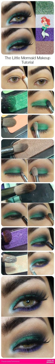 Disney inspired :) Make a splash with Ariel make up at your next rave! #makeup #inspiration #disney