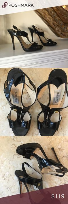 Jimmy Choo Black Patent Leather Sandals Worn but still very fashionable!   Lots of Life Left in Them! Jimmy Choo Shoes Sandals