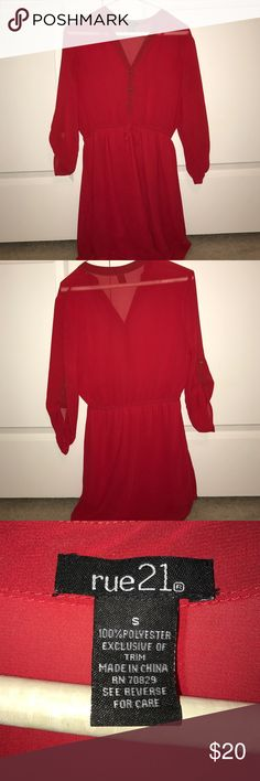 Red Chiffon 3/4 Sleeve Dress Size S Rue 21 size S red dress. V neck button down too and elastic with a small bow at the waist. Great condition, worn maybe twice. Rue 21 Dresses Long Sleeve