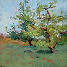 """""""Spring Orchard Study"""" by Debra Joyce Dawson Oil ~ 9"""" x 9"""""""