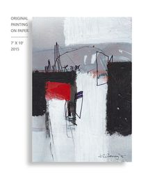 Abstract Painting Acrylic on paper Black and White by kuzennyArt
