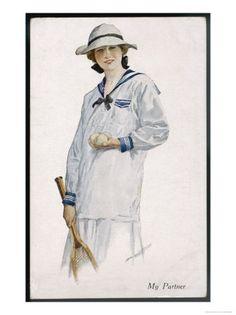 Edwardian era lady's white and blue tennis ensemble. #vintage #Edwardian #tennis #sports