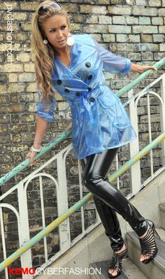 cute transparent blue pvc trench coat