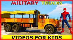 MILITARY TRUCKS & SPIDERMAN in Cars Cartoon for Childrens with Nursery R...