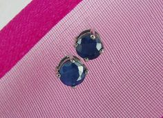 Natural Blue Sapphire Jewelry Solitaire Stud Earrings, Ear Studs | MaggieMays - Jewelry on ArtFire #artfirelink