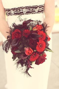 red vintage wedding bouquet ideas - Google Search