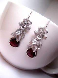 Hey, I found this really awesome Etsy listing at https://www.etsy.com/listing/168302767/silver-rose-red-fall-crystal-earrings