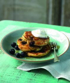 Ricotta and blueberry pancakes #food #breakfast #brunch