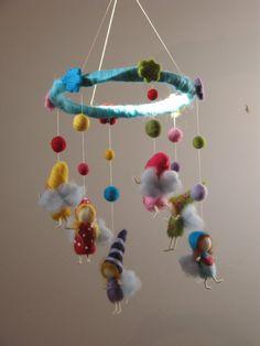 Nursery crib babies rainbow fairies mobile with balls needle felted
