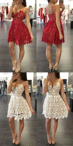 Lace A-Line Short Prom Dresses,Homecoming Dress, Homecoming Dresses