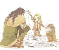 Thorin and his little baby nephews ice-fishing. Adorbs! :3