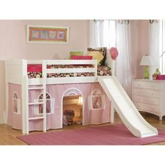 With a bright white finish and feminine features the Cottage Standard Low Loft Tent Bed makes an adorable addition to your little girl's bedroom. This kid's bed features sturdy wood construction and kid-friendly design. The twin bed has safety rails for added security while the matching ladder makes climbing into bed safe fun and easy. Your little girl will love using the optional slide to start off her day on a fun note. The pink-and-white windo