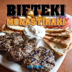 Our newest menu addition is a well-loved traditional Greek street eat named after the famous Monastiraki Market District in Athens known for its hustle & bustle.  Beautifully presented on a platter with three signature bifteki hand-crafted from premium ground beef seasoned with exclusive spices; fresh sliced tomatoes & red onions drizzled with olive oil & oregano; paired with our feta & oregano fries <3 *Available only at 5083 Dixie Road, Mississauga location  #bifteki #mrgreek #greekfood…