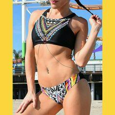 Bikini set Brand new racer back top size M  may fit like a S (size S-M) Swim Bikinis