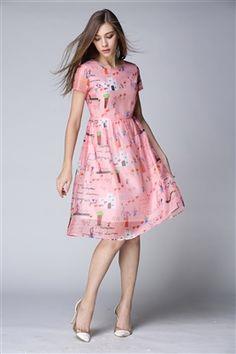 Pink Cartoon Printed Long Dress Daytime Dresses, Winter Time, Short Sleeve Dresses, Dresses For Work, Cartoon, Printed, Pink, Free, Vintage