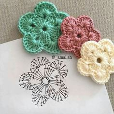 30 Free Crochet Flower Patterns Knitting Lovers is part of Crochet flowers free pattern - Free Crochet Flower Patterns consists of a process of creating fabric by interlocking the loops of materials such as yarn or thread used by artists Crochet Diagram, Crochet Chart, Crochet Motif, Crochet Doilies, Crochet Stitches, Crochet Simple, Crochet Diy, Love Crochet, Irish Crochet