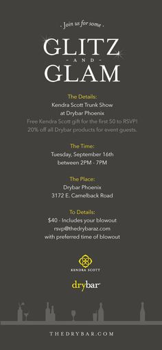 Freelance project with Drybar and Kendra Scott to create a promotional handout and Social Media post for a Trunk Show event in Phoenix, Arizona.