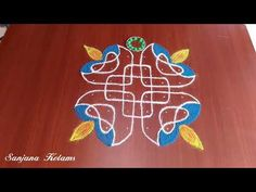 Very Easy And Simple deepam Kolam . Rangoli Designs Latest, Simple Rangoli Designs Images, Rangoli Kolam Designs, Rangoli Designs With Dots, Kolam Rangoli, Rangoli With Dots, Easy Rangoli, Number 18, Muggulu Design