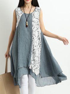 Vintage Lace Patchwork Layered Sleeveless Dresses For Women Latest Kurti Design LATEST KURTI DESIGN | IN.PINTEREST.COM FASHION EDUCRATSWEB
