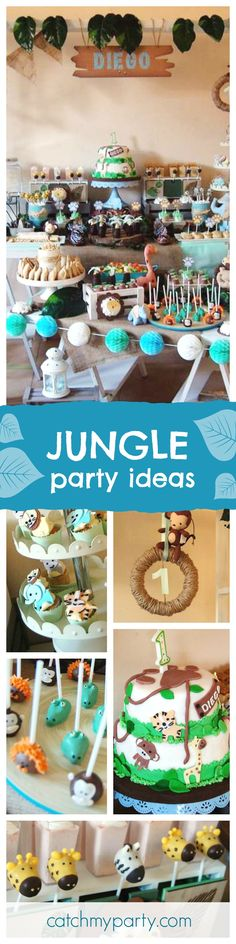 Check out this awesome Jungle birthday party. The jungle animal cake pops are so much fun!! See more party ideas and share yours at CatchMyParty.com