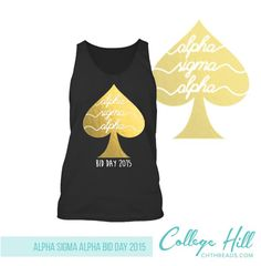 Black and gold bid day tanks inspired by Kate Spade by College Hill Custom Threads sorority and fraternity greek apparel and products! Sorority Outfits, Sorority Life, Sorority Shirts, Phi Sigma Sigma, Alpha Sigma Alpha, Big Little Shirts, Sorority And Fraternity, Greek Clothing, Bid Day