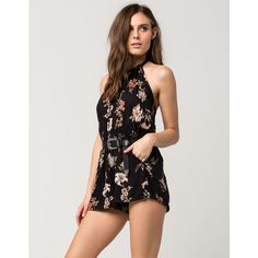 Angie Floral Halter Womens Romper ($28) ❤ liked on Polyvore featuring jumpsuits, rompers, flower print romper, halter rompers, halter-neck tops, floral print romper and halter top