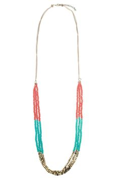 """This beaded necklace features turquoise orange and gold hand placed beads. Very boho inspired. Pair this with ripped denim shorts and a white tank top for a casual chic look!  Measures approx. 20"""" in length.  Boho Beaded Necklace by Glam Squad Shop. Accessories - Jewelry - Necklaces Las Vegas"""