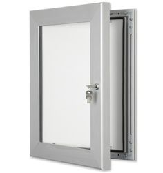 Secure, Lockable External Notice Boards with reinforced lock and frame for added security. Rust proof and fire regulation Aluminium with Correx or pinnable fabric interior. Same day UK dispatch on most notice boards. Secure Lock from £70