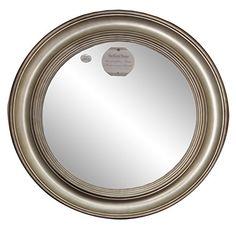 Weathered Wooden 35 Inch Diameter Round Framed Mirror