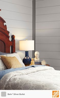 Decorators love gray because of its soothing effect. This shade of gray paint, Silver Bullet from Behr, falls on the warmer side of the gray palette, which coordinates well with yellows and blues. We have dozens of other gray colors to choose from. Click through to find your perfect shade of gray paint.