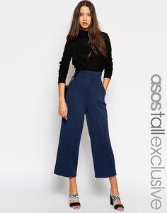 ASOS TALL High Waist Textured Wide Trouser