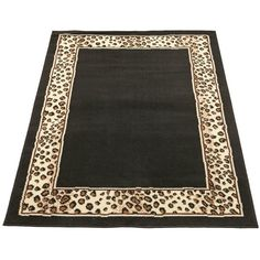 Leopard Border Rug (39 CAD) ❤ liked on Polyvore featuring home, rugs, leopard area rug, olefin rugs, black rug, border rug and olefin area rugs