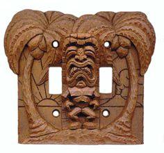 Wood-look Tiki Double Lightswitch Cover / Switch Plate Cover Switch Plate Covers, Switch Plates, Light Switch Covers, Tiki Art, Tiki Tiki, Tiki Lights, Tiki Hawaii, Tiki Totem, Tiki Lounge
