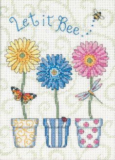 "Stress less this year and ""Let It Bee"" with this creative cross stitch craft! Jiffy Let It Bee... Mini Counted Cross Stitch Kit-5 X7"