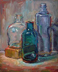 """Three Bottles and Block"" - Original Fine Art for Sale - © Raymond Logan"