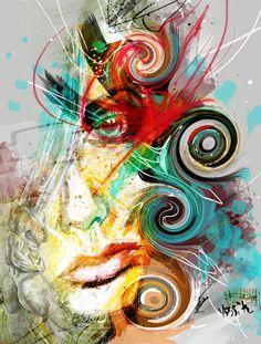Yossi originele kunst she's got de look portret. Giclee