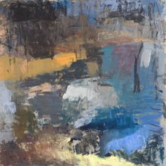 Forrest Moses - Winter Pond//this is a nice cool color palette.  Just where the light hits that yellowy-orange is the only warm color in this painting, besides the slightest bit of yellow in the band at the front edge of the painting.