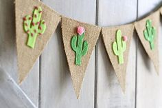 **This adorable felt cactus banner will make a great decoration for summer, a birthday party, pool party, baby shower...anything!** Details: * Burlap flags measure 5.5 wide and 7 high. Total length is 2.75 feet. * Cacti are hand cut from high quality felt. * Burlap is 2 layers thick,