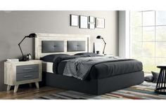 . Conjunto compuesto por cabezal de 161 cm. x 121 cm de alto para cama de 135/150 2 mesitas de 2 cajones de 60 cm con patas.