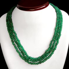 Green Emerald Necklace 381.00 Cts 3 Line Carved Beads Best Ever AAA Necklace