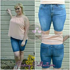 "Hug Those Curves Dark Wash Bermuda Shorts Casual and chic shorts!  2X-Large:  Waist 38"" - 41"", Inseam 9.75"" 3X-Large:  Waist 40"" - 43"", Inseam 9.75""  98% Cotton, 2% Spandex Shorts Jean Shorts"